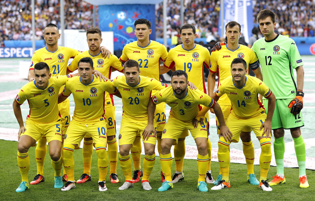 Romania team poses prior to the Euro 2016 Group A soccer match between France and Romania, at the Stade de France, in Saint-Denis, north of Paris, Friday, June 10, 2016. (AP Photo/Frank Augstein)