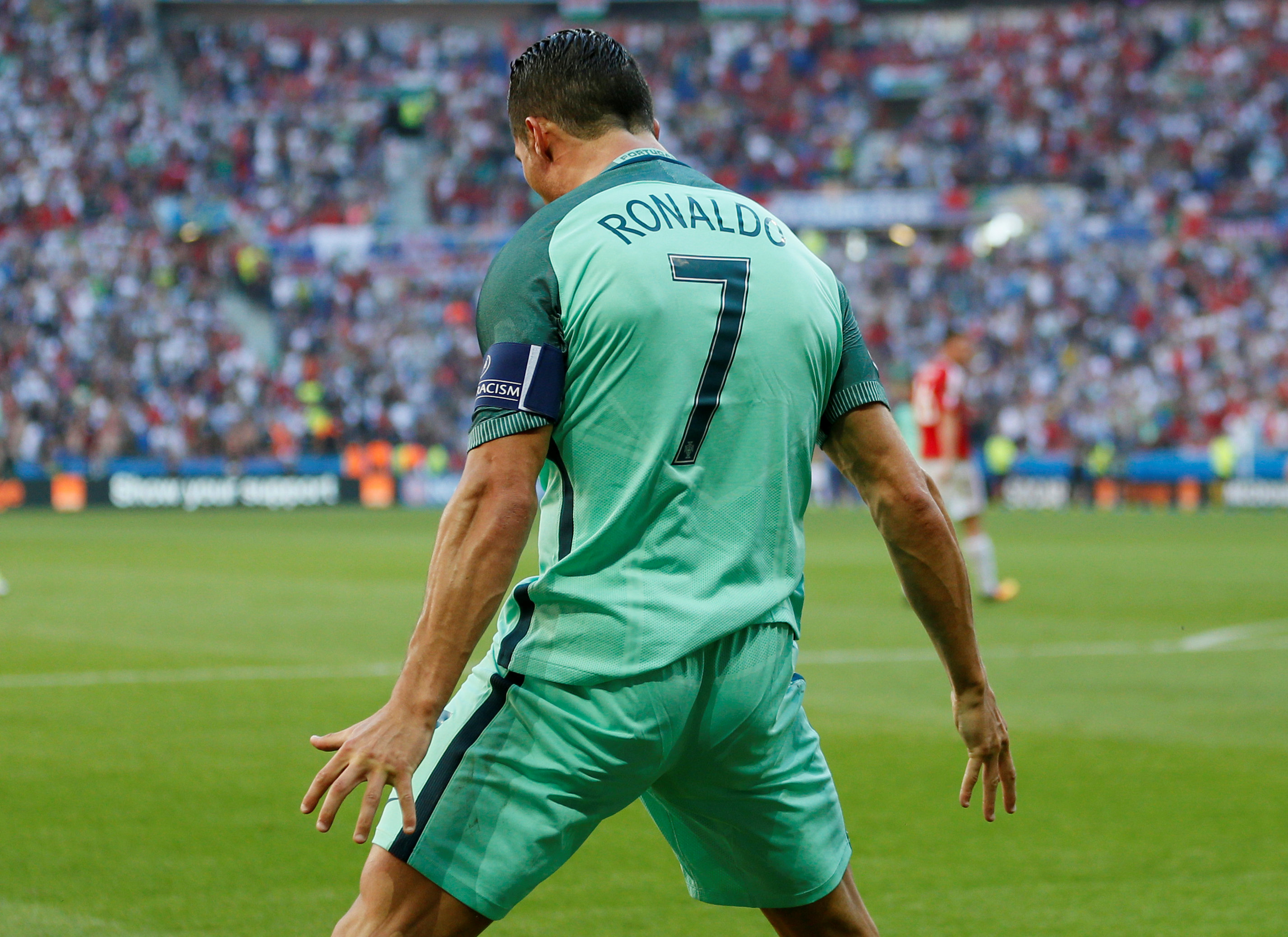 Football Soccer - Hungary v Portugal - EURO 2016 - Group F - Stade de Lyon, Lyon, France - 22/6/16Portugal's Cristiano Ronaldo celebrates after scoring their second goalREUTERS/Robert PrattaLivepic TPX IMAGES OF THE DAY