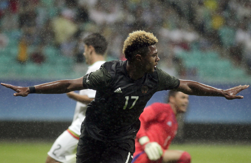 Germany's Serge Gnabry celebrates his goal during a group C match of the men's Olympic football tournament between Mexico and Germany at the Fonte Nova Arena in Salvador, Brazil, Thursday, Aug. 4, 2016. (AP Photo/Arisson Marinho)