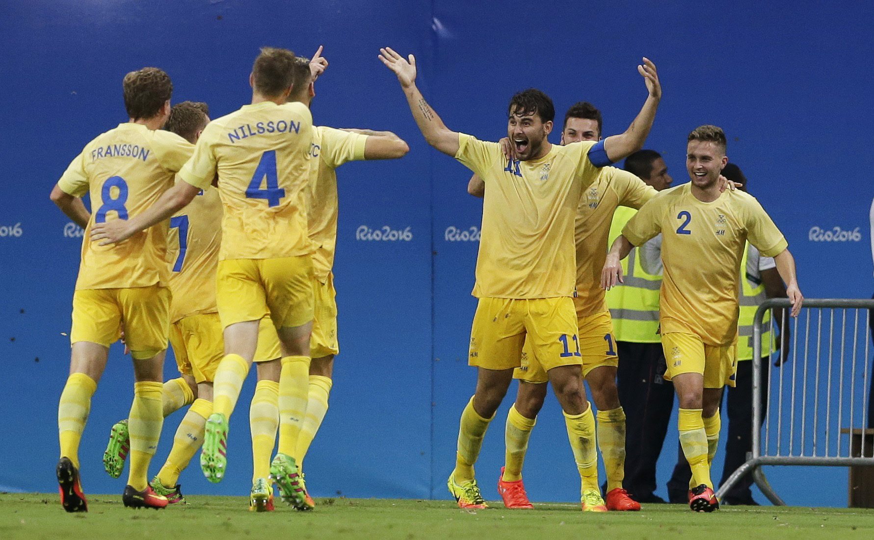 2016 Rio Olympics - Soccer - Preliminary - Men's First Round - Group B Sweden v Colombia - Amazonia Stadium - Manaus, Brazil - 04/08/2016. Astrit Ajdarevic (SWE) of Sweden celebrates after scoring a goal. REUTERS/Bruno Kelly FOR EDITORIAL USE ONLY. NOT FOR SALE FOR MARKETING OR ADVERTISING CAMPAIGNS.