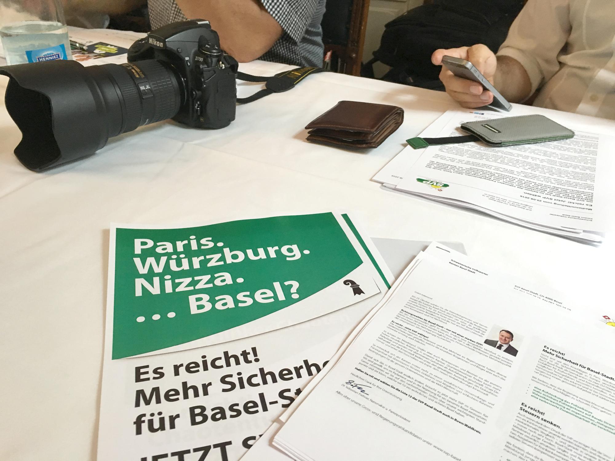 Paris, Würzburg, Nizza, Basel? Die SVP Basel-Stadt suggeriert den Terror herbei.