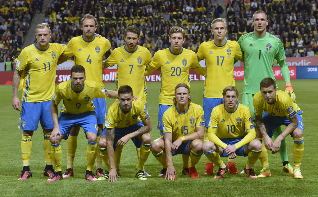 The Sweden team prior to the World Cup 2018 qualifying soccer match between Sweden and the Netherlands at the Friends Arena in Stockholm, Sweden, Tuesday Sept. 6, 2016. (Pontus Lundahl/TT via AP)