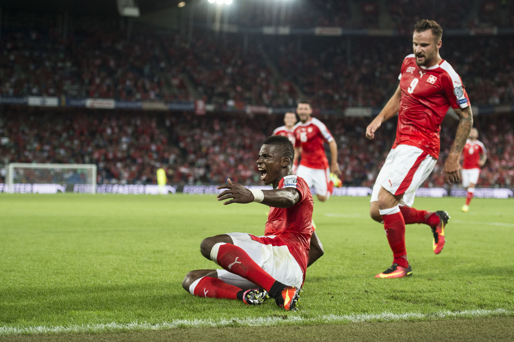 Swiss forward Breel Embolo, celebrate the goal during the 2018 Fifa World Cup Russia group B qualification soccer match between Switzerland and Portugal at the St. Jakob-Park stadium, in Basel, Switzerland, Tuesday, September 6, 2016. (KEYSTONE/Ennio Leanza)