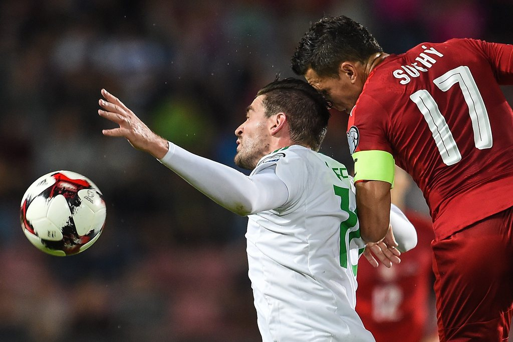 epa05524479 Marek Suchy of Czech Republic (R) in action against Kyle Lafferty of Northern Ireland (L) during the FIFA World Cup 2018 Group C qualifying soccer match Czech Republic vs Northern Ireland in Prague, Czech Republic, 04 September 2016. EPA/FILIP SINGER