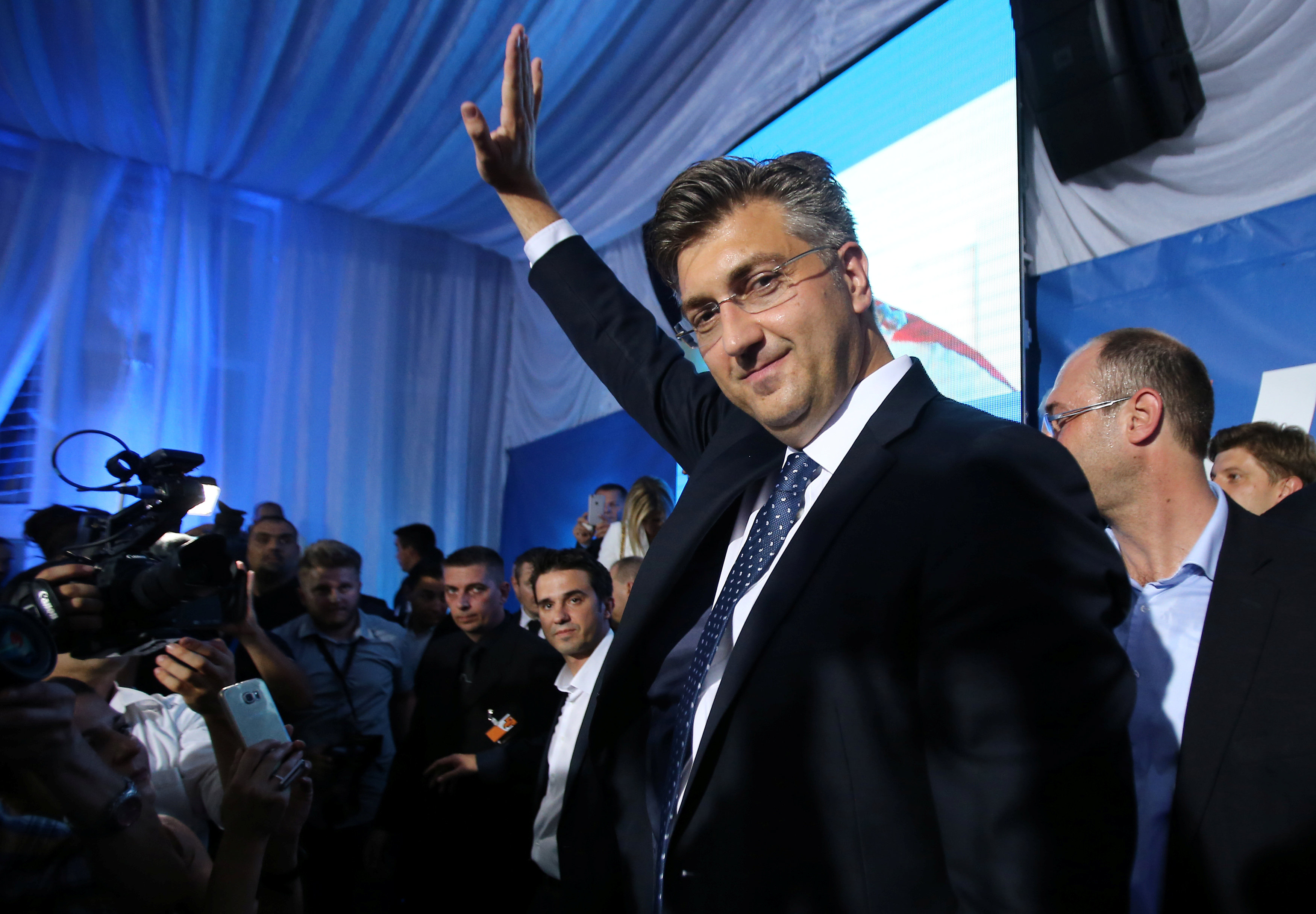 Andrej Plenkovic, president of the Croatian Democratic Union (HDZ), reacts during a speech after exit polls in Zagreb, Croatia, September 11, 2016.