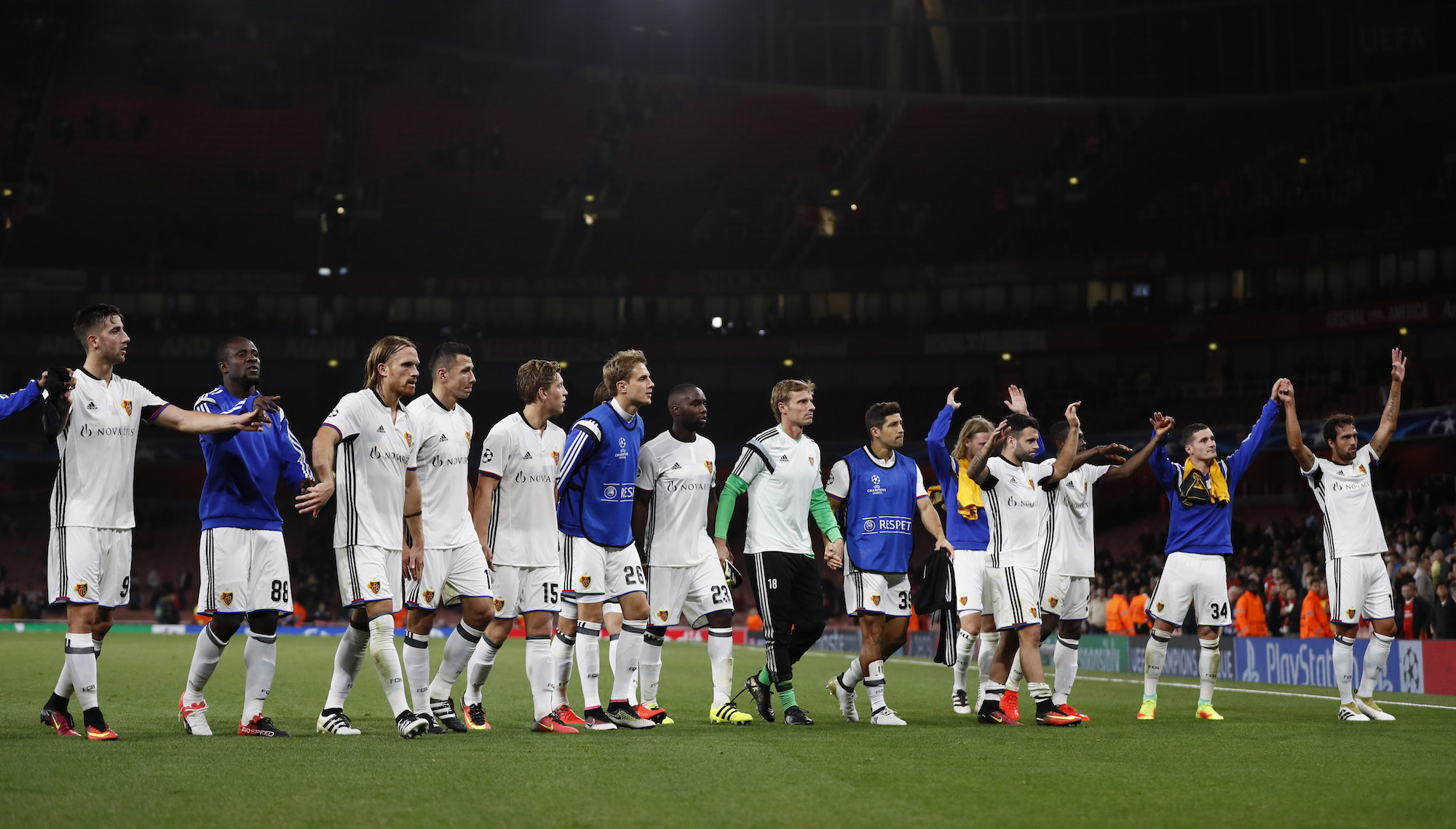 Britain Soccer Football - Arsenal v FC Basel - UEFA Champions League Group Stage - Group A - Emirates Stadium, London, England - 28/9/16 FC Basel players after the match Reuters / Stefan Wermuth Livepic EDITORIAL USE ONLY.