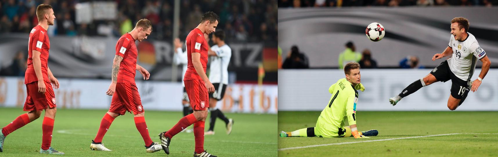 Szenen aus dem Spiel gegen Deutschland: Marek Suchy geht nach dem 0:3 gesenkten Hauptes vom Feld, Tomas Vaclik wehrt sich gegen Mario Götze.