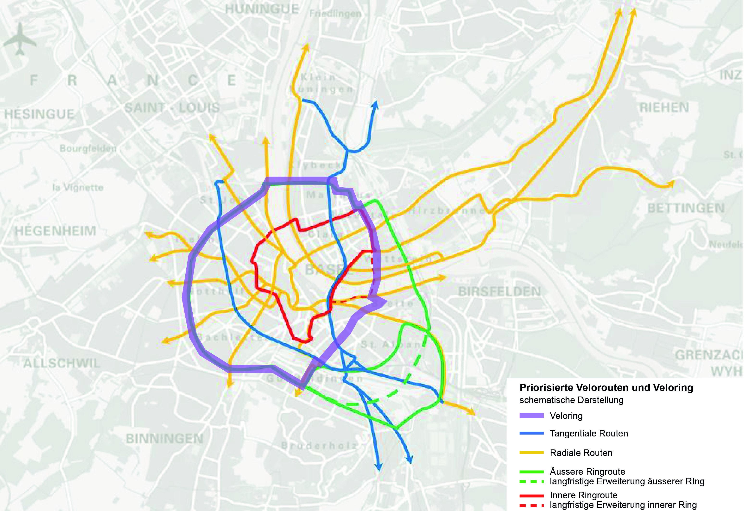 Schematische Darstellung des Velorings und der Velorouten in Basel.