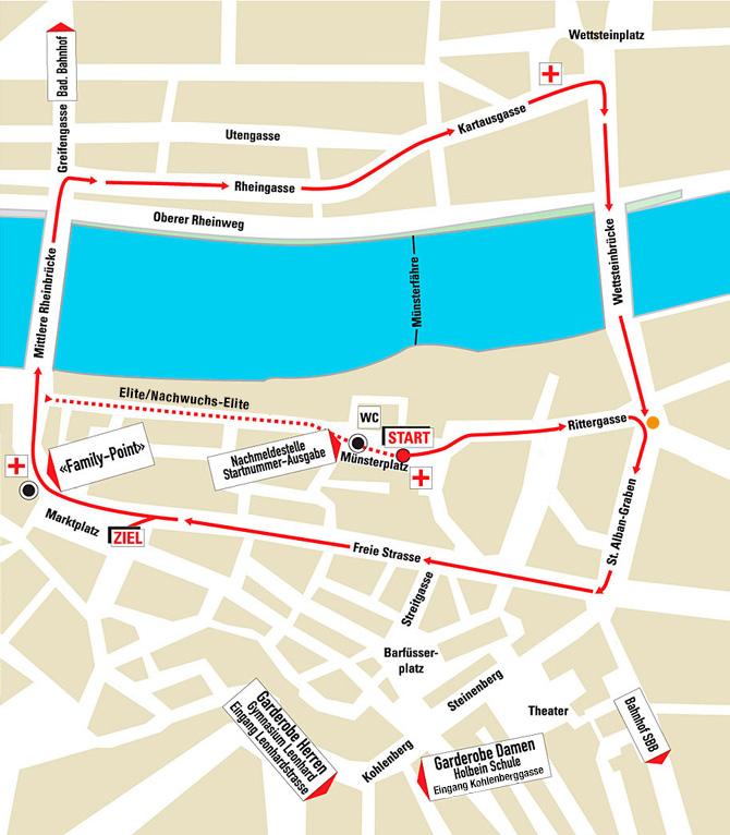 Streckenverlauf des Basler Stadtlauf 2016.