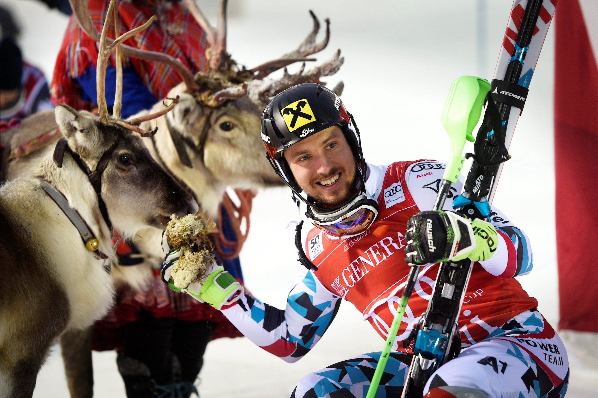 FIS World Cup alpine skiing - Men's slalom - Kittila Finland - 13/11/2016. Winner Marcel Hirscher of Austria poses with his trophy, a reindeer which Hirscher named Leo, after the Men's FIS Alpine Skiing World Cup slalom race LEHTIKUVA/Martti Kainulainen via REUTERS ATTENTION EDITORS - THIS IMAGE WAS PROVIDED BY A THIRD PARTY. FOR EDITORIAL USE ONLY. NOT FOR SALE FOR MARKETING OR ADVERTISING CAMPAIGNS. NO THIRD PARTY SALES. NOT FOR USE BY REUTERS THIRD PARTY DISTRIBUTORS. FINLAND OUT. NO COMMERCIAL OR EDITORIAL SALES IN FINLAND.