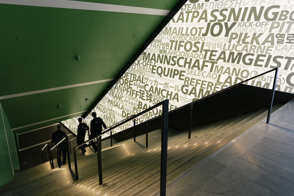 A staircase leads to the next exhibition floor at the FIFA World Football Museum in Zurich, Switzerland, on May 17, 2016. Exhibits at the museum, which is owned and operated by FIFA, include memorabilia from every FIFA World Cup and FIFA Women's World Cup. (KEYSTONE/Christian Beutler)