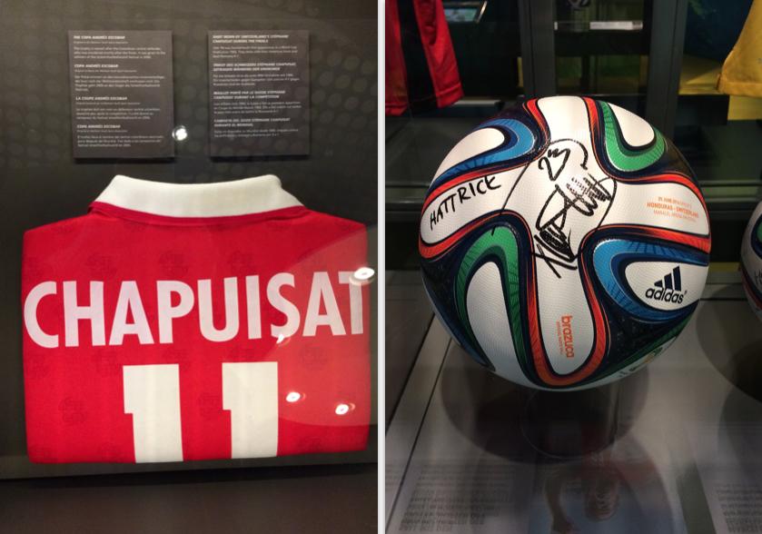 Aus der Pretiosensammlung: Links das Nationaltrikot, das Stéphane Chapuisat 1994 an der WM für die Schweiz trug, rechts der Ball mit dem Xherdan Shaqiri an der WM 2014 einen Hattrick gegen Honduras erzielte.