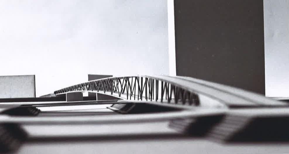Projektidee für eine neue Rheinbrücke bei der Wiesenmündung.