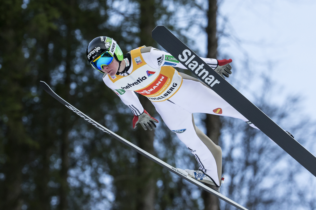 Domen Prevc of Slovenia jumps during the men's ski jumping FIS World Cup at the Titlisschanze in Engelberg, Switzerland, on Sunday, December 18, 2016. (KEYSTONE/Alexandra Wey)