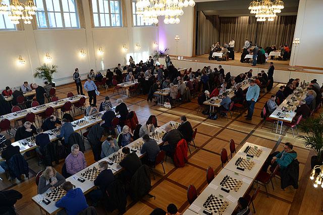 Das Basler Schachfestival in Riehen: Ein Blick in den Landgasthof in Riehen beim Turnier 2016.