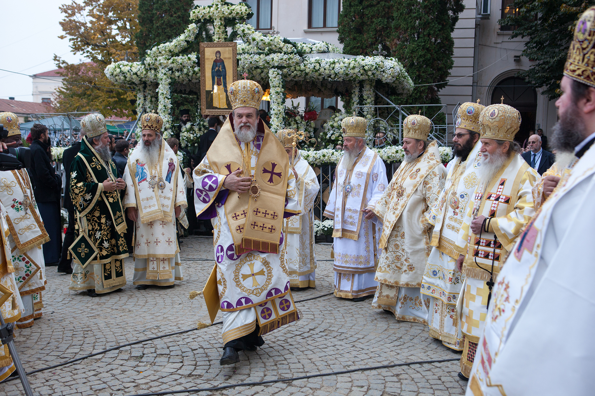 High priests of Romanian Orthodox Church gather at the relics of Saint Parascheva, in Iasi, October 14, 2013. She is considered the Patron Saint and Protector of Moldavia and each year, on October the 14th, on the Saint's Day, hundreds of thousands of people from all over the county and abroad come on a pilgrimage.