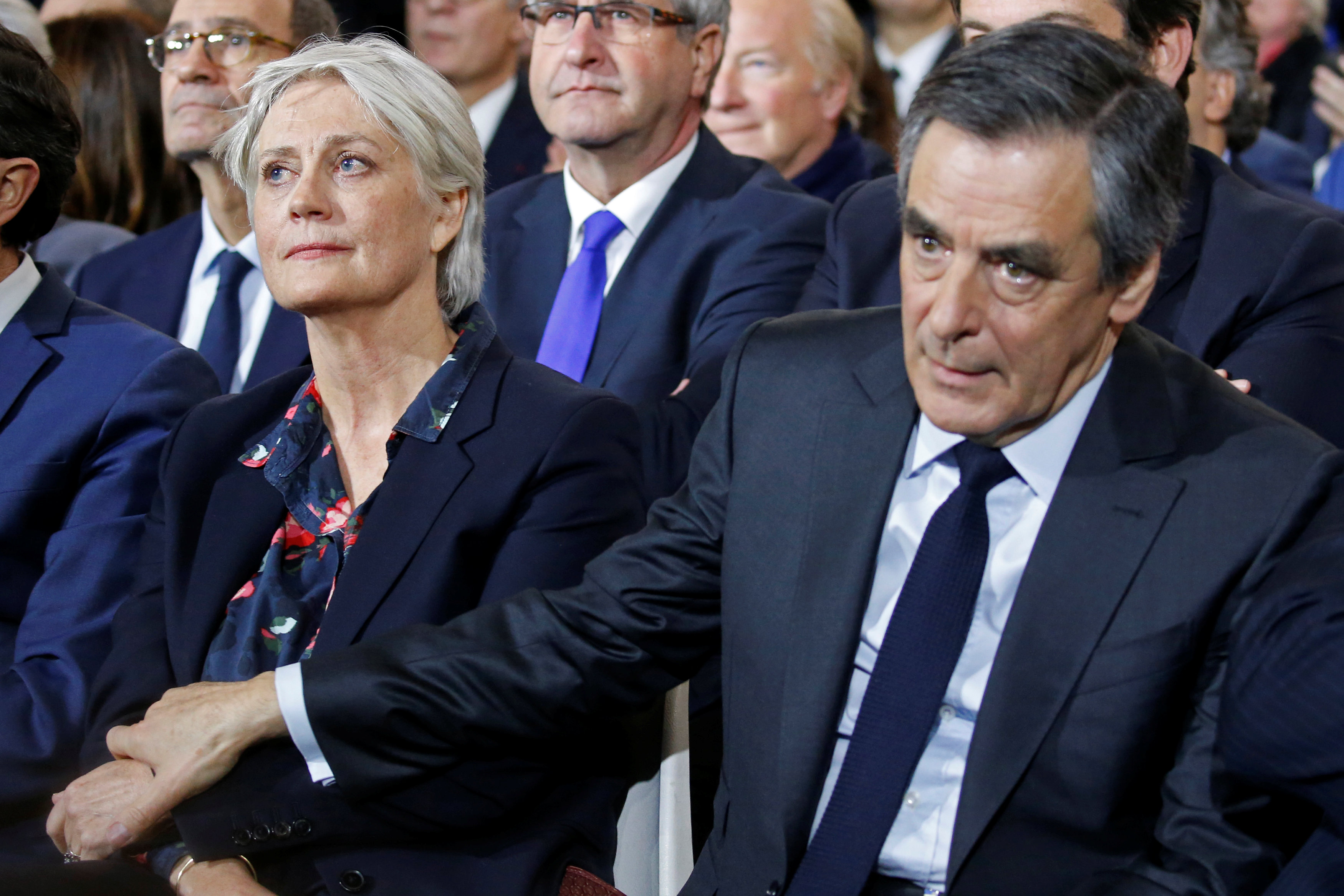 Francois Fillon, member of Les Republicains political party and 2017 presidential candidate of the French centre-right, and his wife Penelope attend a political rally in Paris, France, January 29, 2017. Picture taken January 29, 2017. REUTERS/Pascal Rossignol