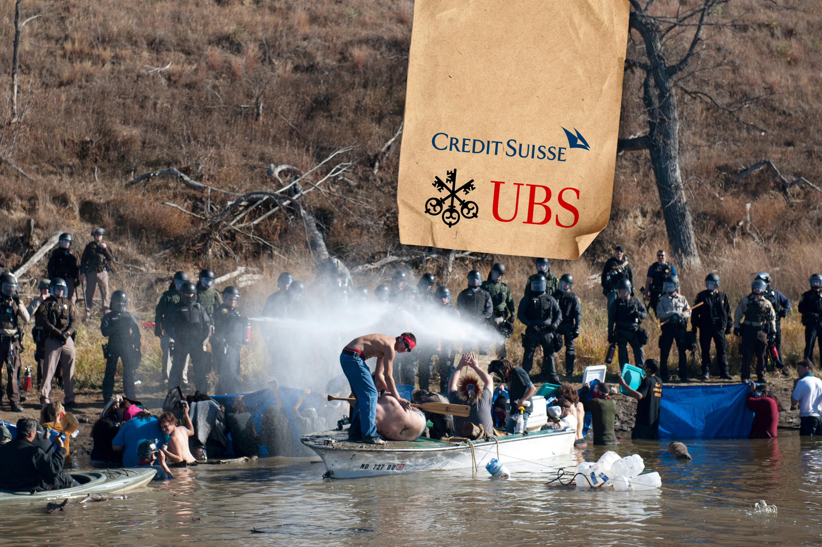 REFILE - CLARIFYING LOCATION Police use pepper spray against people standing in the water of a river during a protest against