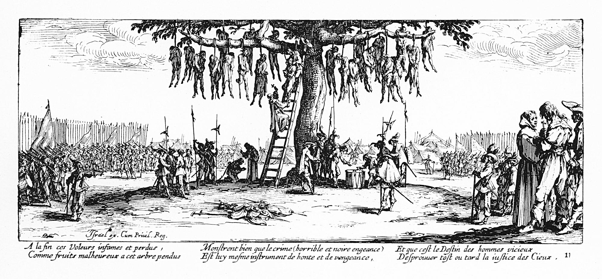 «Die Gehenkten» aus dem Zyklus «Les misères et les malheurs de la guerre» (1633).