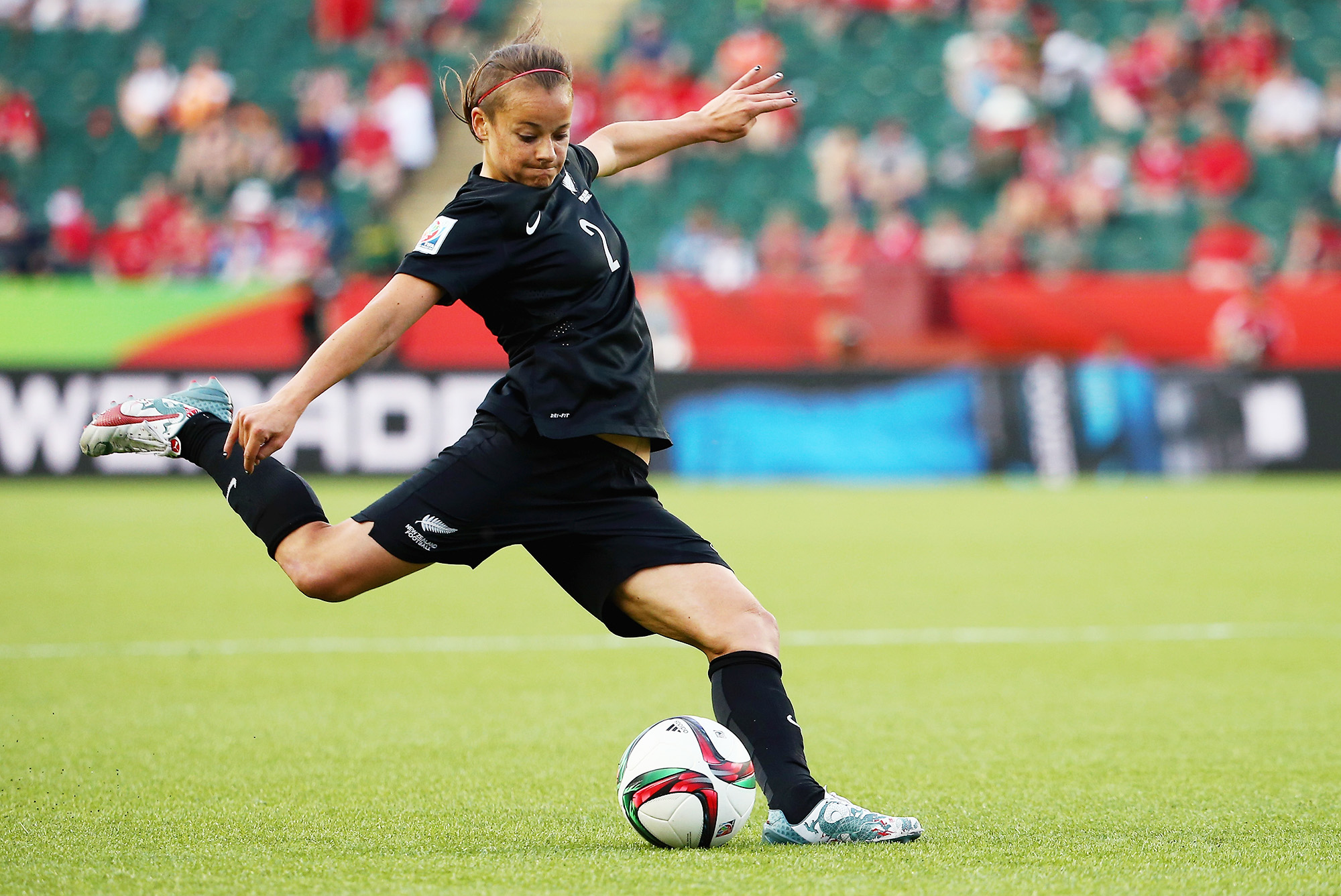 EDMONTON, AB - JUNE 06: Ria Percival #2 of New Zealand crosses the ball during the FIFA Women's World Cup Canada 2015 Group A match between New Zealand and Netherlands at Commonwealth Stadium on June 6, 2015 in Edmonton, Alberta, Canada. (Photo by Maddie Meyer - FIFA/FIFA via Getty Images)