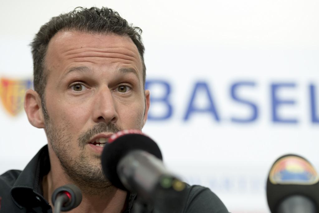 Die neue sportliche Fuehrung des FC Basel mit Marco Streller beantwortet Fragen der Medienvertreter im Stadion St. Jakob-Park in Basel, am Montag, 10. April 2017. (KEYSTONE/Georgios Kefalas)