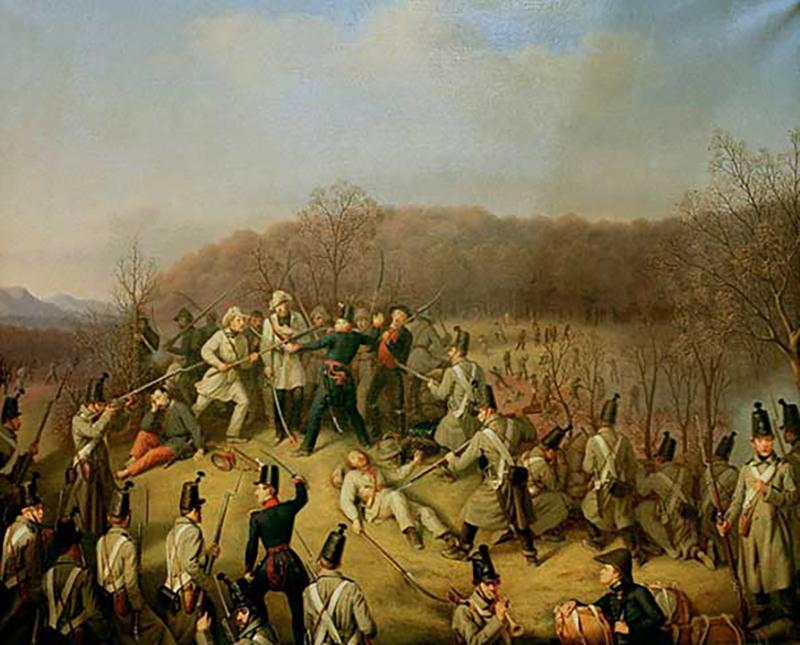 Hauptmann Lipp im Gefecht bei Dossenbach, Gemälde von Franz Seraph Stirnbrand,1848