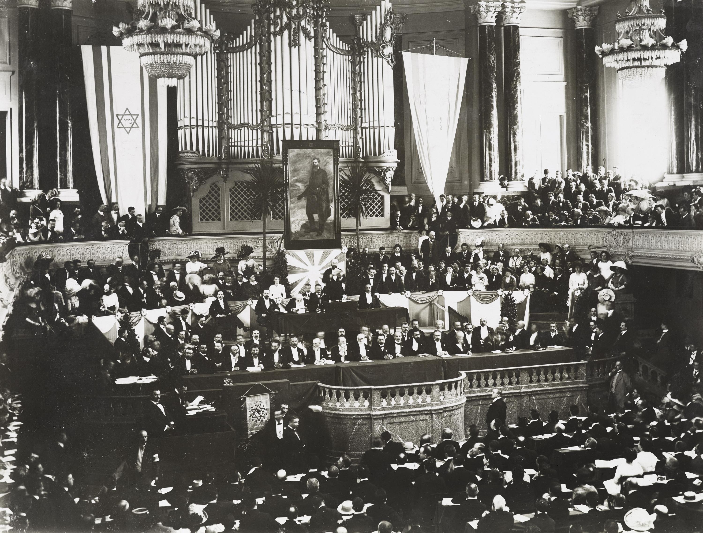 Der Konzertsaal anlässlich des Zionistenkongresses 1911.