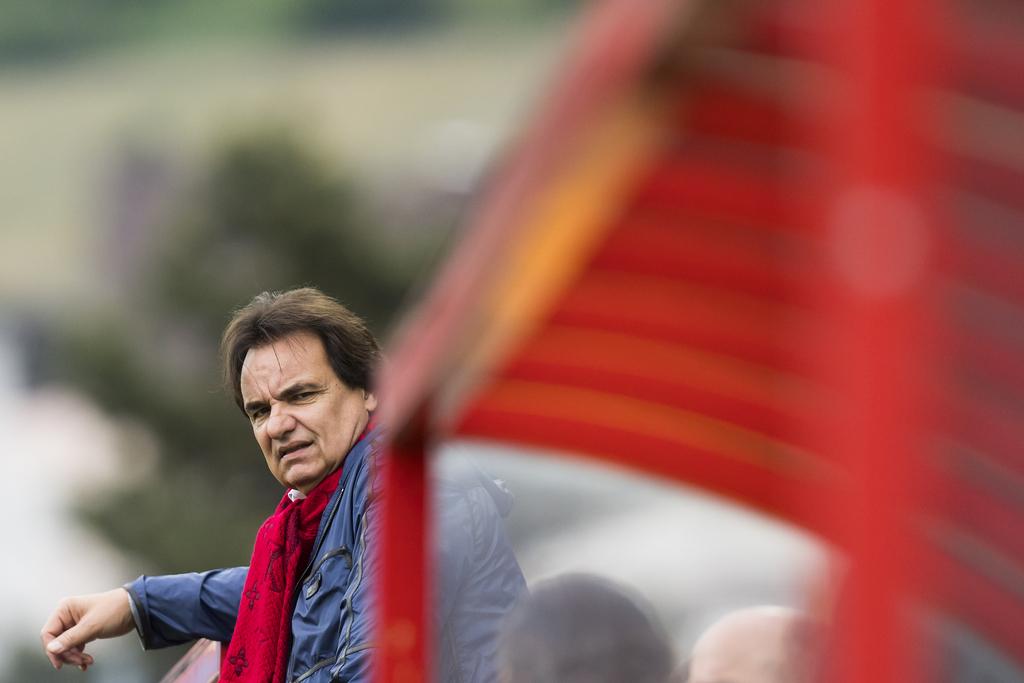 Le president du FC Sion Christian Constantin, lors de la rencontre de football de Super League entre le FC Sion et le BSC Young Boys ce dimanche 7 mai 2017 au stade de Tourbillon a Sion. (KEYSTONE/Jean-Christophe Bott)