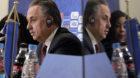 Russian Deputy Prime Minister and Russia World Cup head Vitaly Mutko and FIFA secretary general Fatma Samoura are reflected i