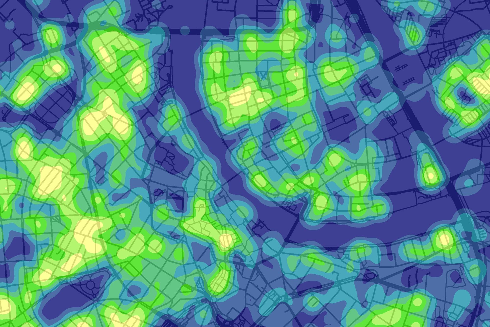 Die Heatmap von Leser Ralph Straumann zeigt, wo viele Handänderungen pro Hektare stattfanden.