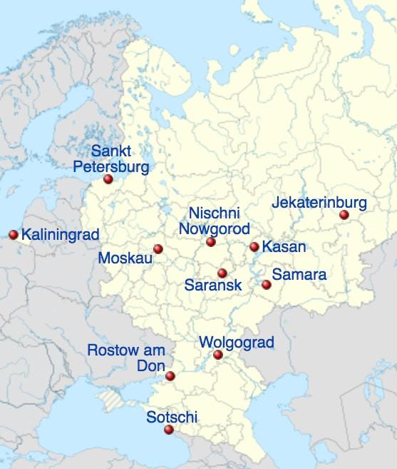 Wm Russland 2021 Spielorte Karte