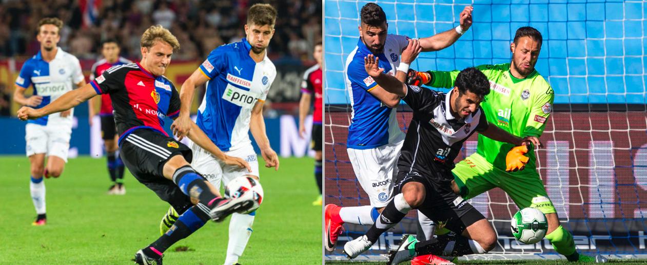 Daniel Hoegh (links am Ball) verlässt den FC Basel, Eray Cümart (rechts, Mitte) könnte aus dem Leihgeschäft mit dem FC Lugano zum Schweizer Meister zurückkehren.