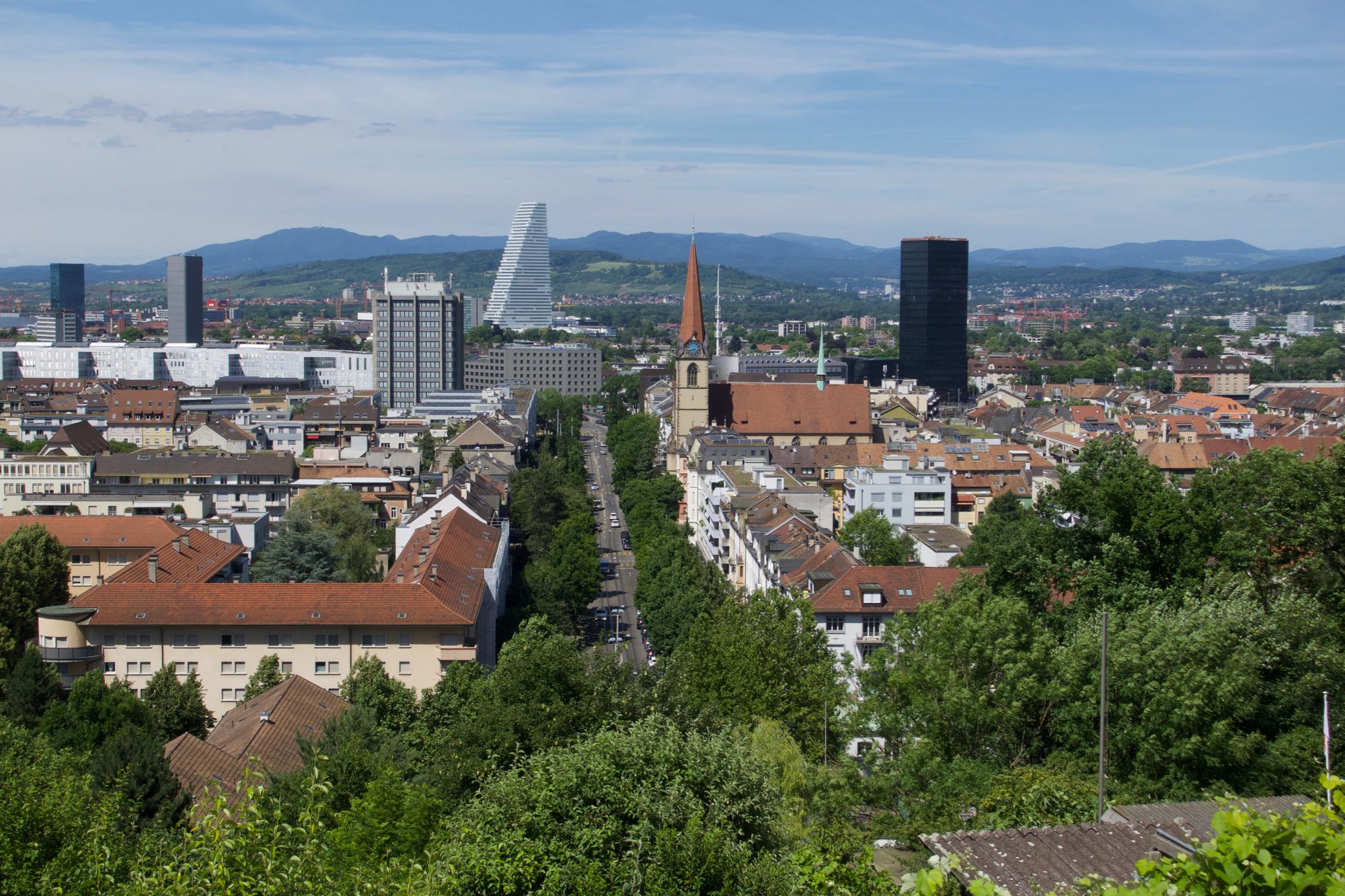 Blick vom Brunderholz runter af die Kunst- und Kunstmessestadt Basel.