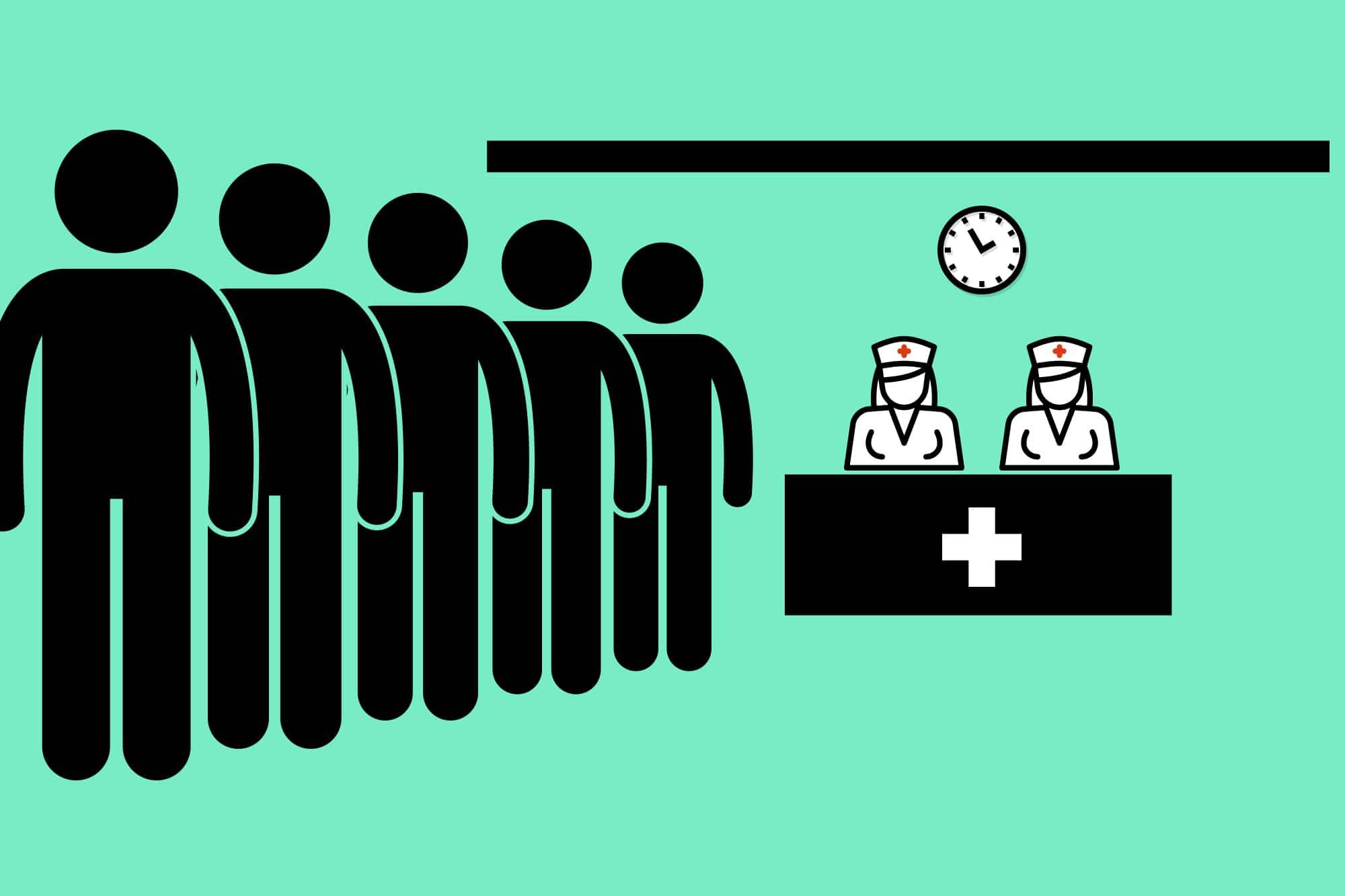 Schlange stehen muss man in der Poliklinik nicht wirklich. Es lohnt sich, nach der Anmeldung zu Hause zu warten.