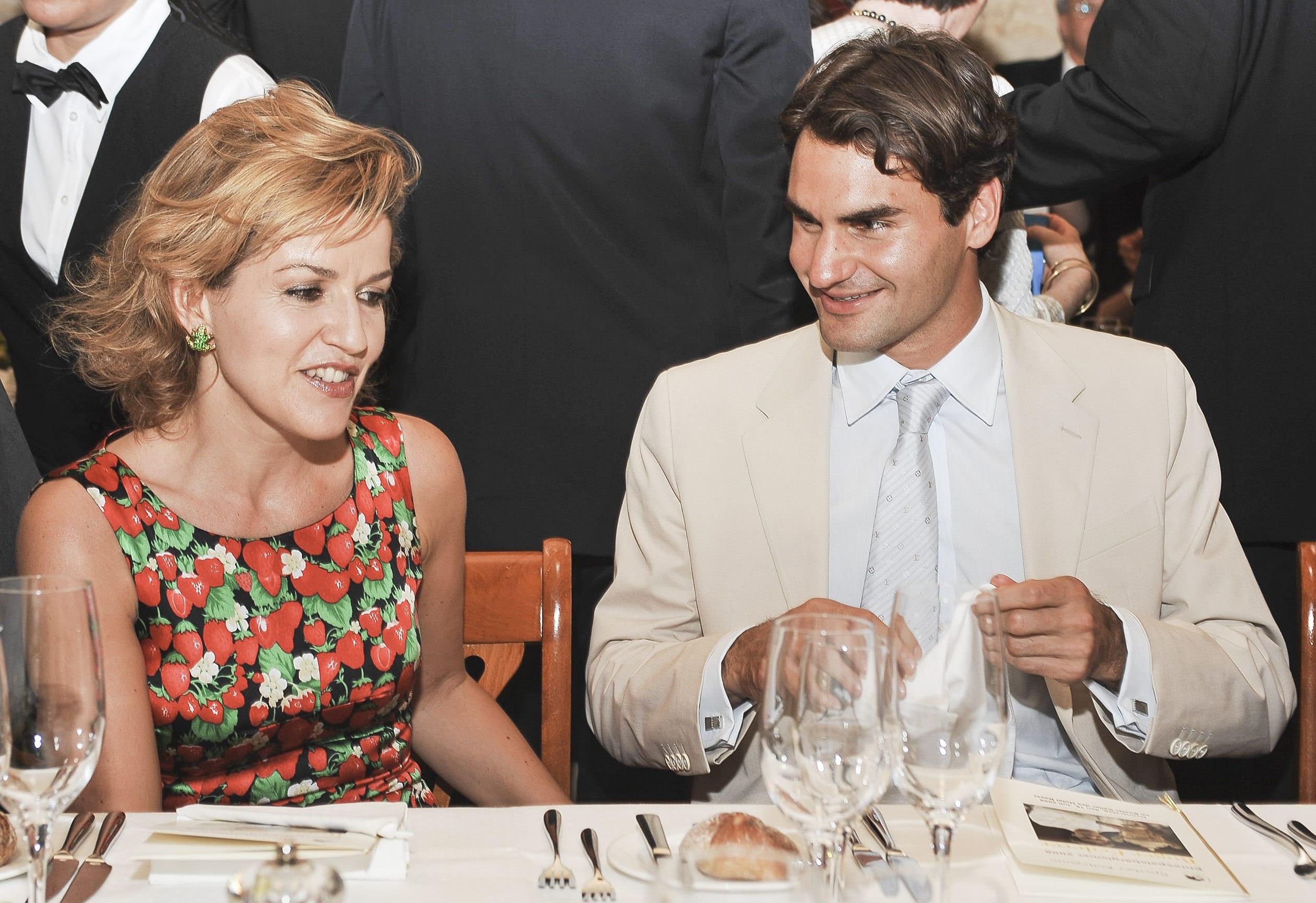 Anne Sophie Mutter mit Roger Federer  Empfang zu Ehren von Roger-Federer und Enth¸llung seiner Ehrentafel von dem Hotel Bas