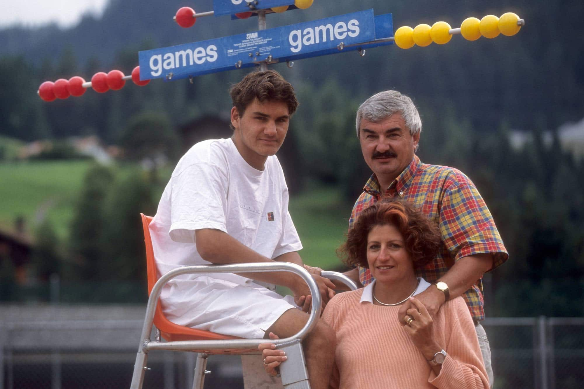 Roger Federer (SUI) mit Eltern Robert und Lynette