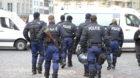 Polizeipraesenz auf dem Marktplatz vor dem Rathaus, aufgenommen am Mittwoch, 3. Februar 2016, in Basel. Zuvor hatte die Kanto
