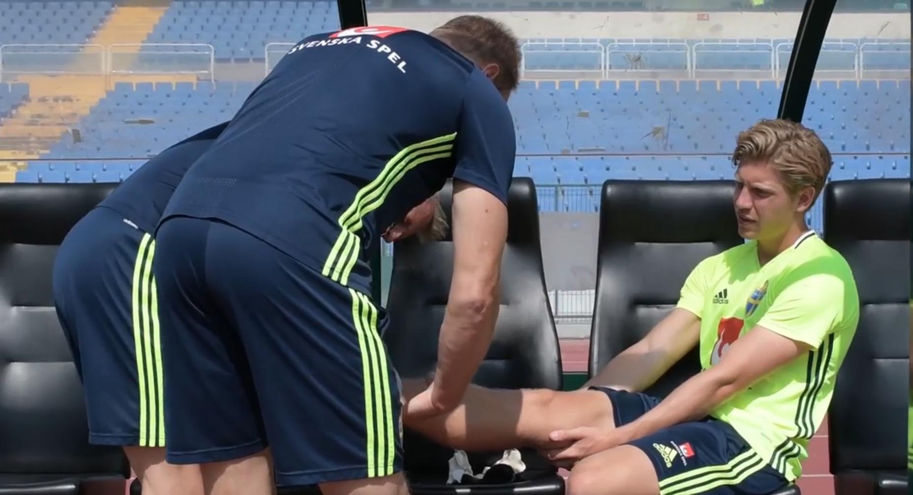 Alexander Fransson zieht sich im Training mit der Nationalmannschaft eine Fussverletzung zu.