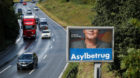 """A partly visible election campaign poster of Germany's anti-immigration party Alternative fuer Deutschland AfD reads """"Asylum"""