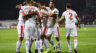 Swiss forward Haris Seferovic, left, celebrates after scoring the goal to the 0:1 with teammates during the 2018 Fifa World C