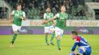 20.09.2017; St.Gallen; Fussball Super League - FC St.Gallen- FC Basel;Torschuetze Marco Aratore (St.Gallen) jubelt nach dem