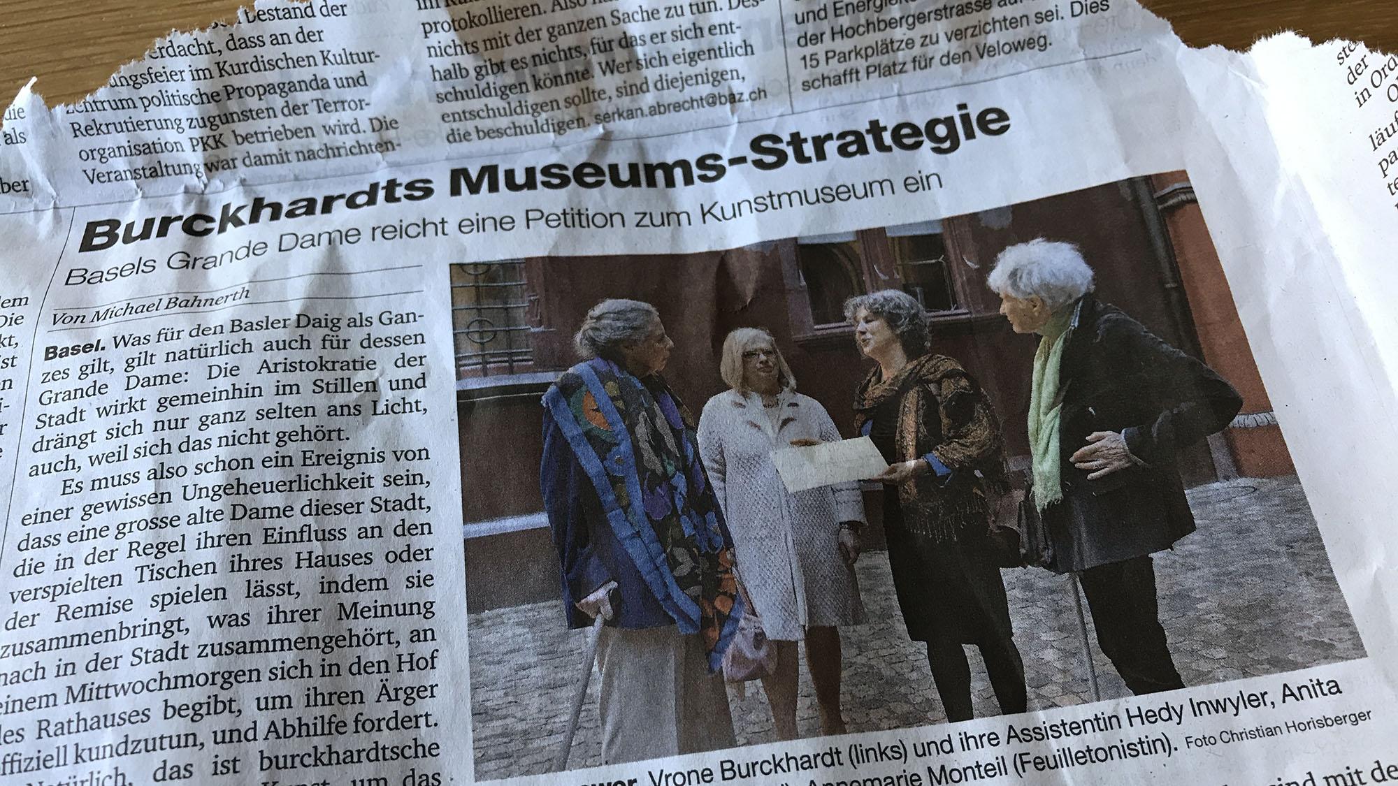 Basel-Stadt soll sich gefälligst um die ungedeckten Betriebskosten im Kunstmuseum kümmern, findet Vrone Burckhardt.