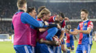 Die Basler Spieler jubeln ueber ihr 1:0 im Fussball Meisterschaftsspiel der Super League zwischen dem FC Basel 1893 und dem F