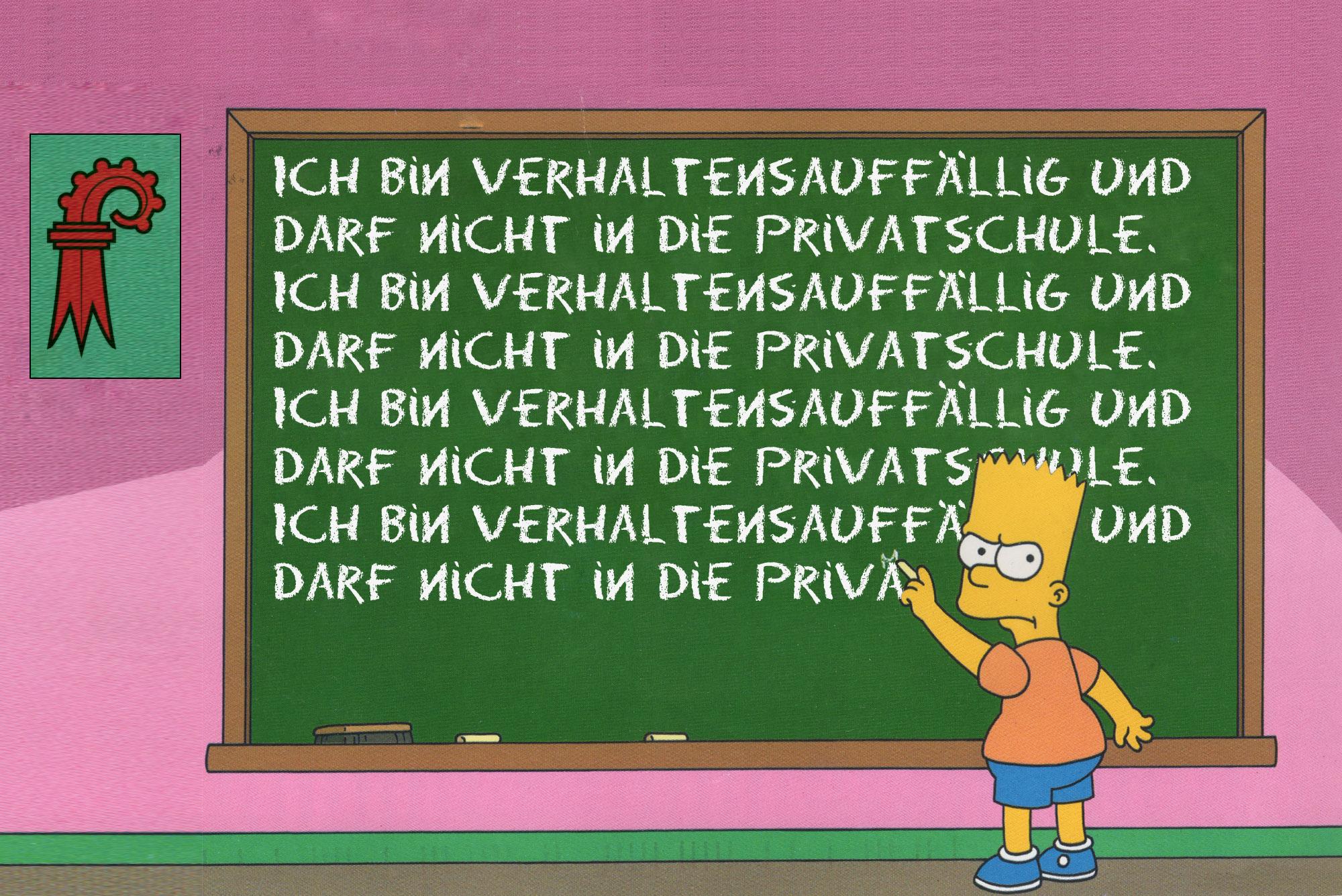 Müsste im Baselbiet in den Regelunterricht: der notorische Querulant Bart Simpson.