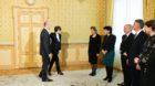 Der neugewaehlte Bundesrat Alain Berset wird von Bundespraesidentin Micheline Calmy-Rey im Salon du President begruesst, wo e