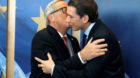 Austrian's Foreign Minister Sebastian Kurz is welcomed by European Commission President Jean-Claude Juncker at the EC headqua