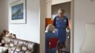 R. W., an employee of Spitex Biel, the municipal home care service, visits an elderly woman at her home in Biel, Switzerland,