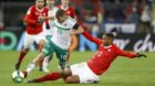 Switzerland's defender Manuel Akanji, right, tackles Northern Ireland's midfielder Jamie Ward, left, during the 2018 FIFA Wor