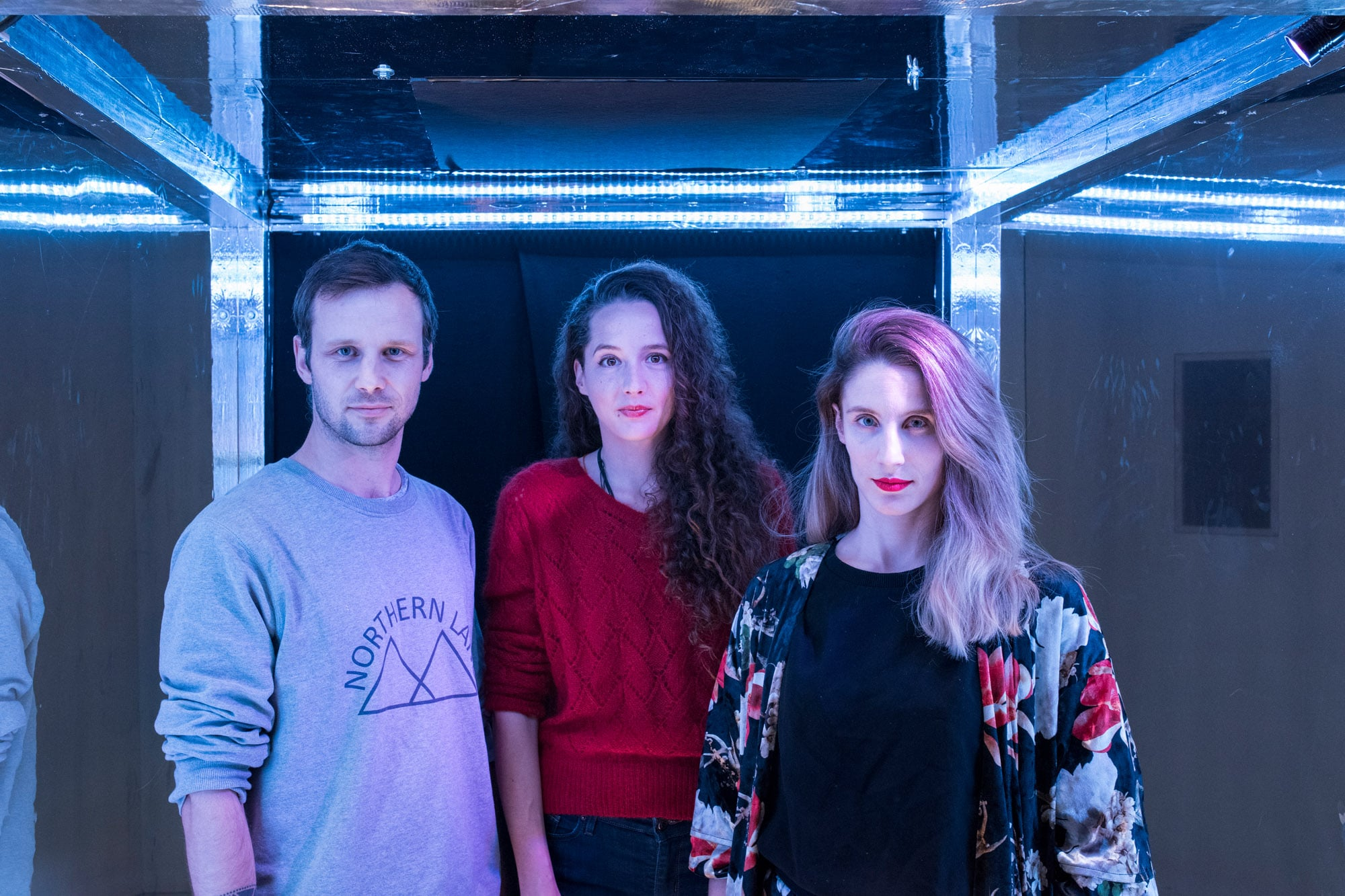Alice - Multimediales Spoken Word Musiktheater.Portraitfotos Fabian Chiquet, Steff la Cheffe, Annalena Fröhlich v.l.n.r�