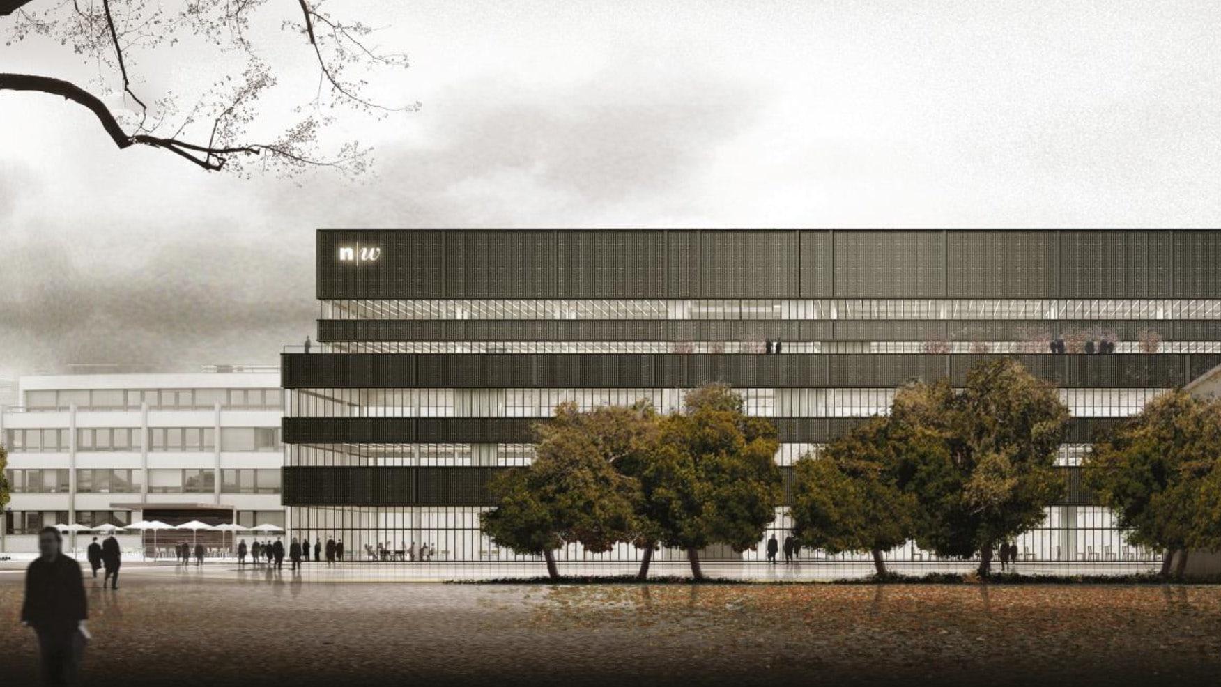 Visualisierung des Neubaus der Hochschule für Wirtschaft.